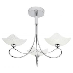Endon SONG-3CH 3 Light Ceiling Fitting In Chrome With Decorative Glass Shades 3 Light In Chrome