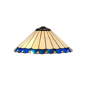 Nu Derham Tiffany 40cm Shade Only Suitable For Pendant/Ceiling/Table Lamp, Blue/CCrain/Crystal