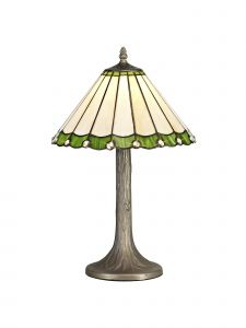 Sonoma Tiffany 30cm Shade, Green/Cream/Crystal c/w 48cm Tree Like Table Lamp, 1 x E27, Aged Antique Brass