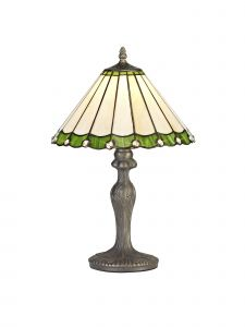Sonoma Tiffany 30cm Shade, Green/Cream/Crystal c/w 47.5cm Curved Table Lamp, 1 x E27, Aged Antique Brass