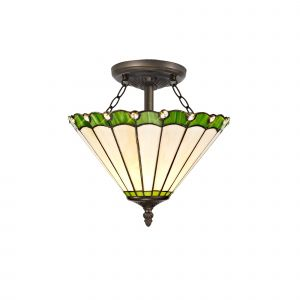Sonoma Tiffany 30cm Shade, Green/Cream/Crystal c/w Semi Ceiling Kit, 2 x E27, Aged Antique Brass