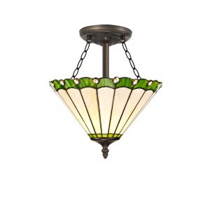Sonoma Tiffany 30cm Shade, Green/Cream/Crystal c/w Semi Ceiling Kit, 3 x E27, Aged Antique Brass