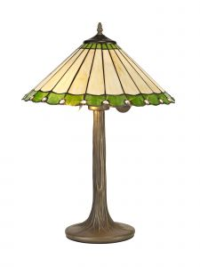 Sonoma Tiffany 40cm Shade, Green/Cream/Crystal c/w 56cm Tree Like Table Lamp, 2 x E27, Aged Antique Brass