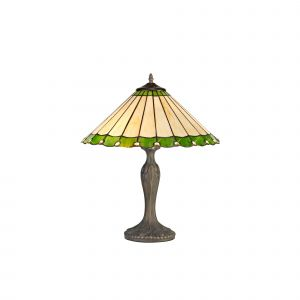 Sonoma Tiffany 40cm Shade, Green/Cream/Crystal c/w 56cm Curved Table Lamp, 2 x E27, Aged Antique Brass