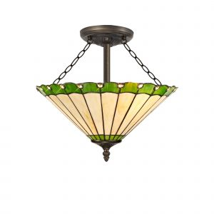 Sonoma Tiffany 40cm Shade, Green/Cream/Crystal c/w Semi Ceiling Kit, 3 x E27, Aged Antique Brass