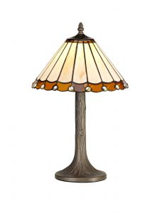 Sonoma Tiffany 30cm Shade, Amber/Cream/Crystal c/w 48cm Tree Like Table Lamp, 1 x E27, Aged Antique Brass