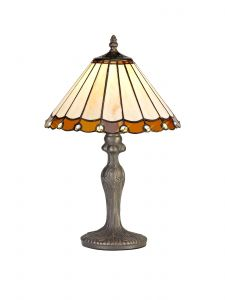 Sonoma Tiffany 30cm Shade, Amber/Cream/Crystal c/w 47.5cm Curved Table Lamp, 1 x E27, Aged Antique Brass