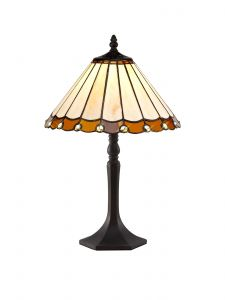 Sonoma Tiffany 30cm Shade, Amber/Cream/Crystal c/w 48cm Octagonal Table Lamp, 1 x E27, Aged Antique Brass