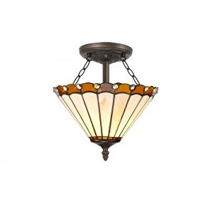Sonoma Tiffany 30cm Shade, Amber/Cream/Crystal c/w Semi Ceiling Kit, 2 x E27, Aged Antique Brass