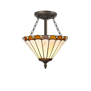 Sonoma Tiffany 30cm Shade, Amber/Cream/Crystal c/w Semi Ceiling Kit, 3 x E27, Aged Antique Brass