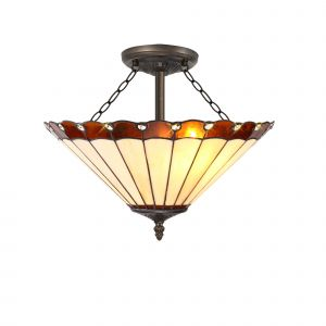Sonoma Tiffany 40cm Shade, Amber/Cream/Crystal c/w Semi Ceiling Kit, 3 x E27, Aged Antique Brass