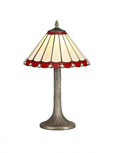 Sonoma Tiffany 30cm Shade, Red/Cream/Crystal c/w 48cm Tree Like Table Lamp, 1 x E27, Aged Antique Brass