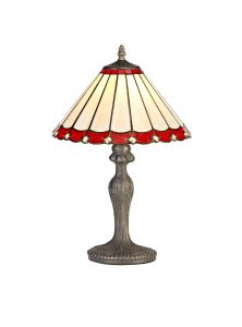 Sonoma Tiffany 30cm Shade, Red/Cream/Crystal c/w 47.5cm Curved Table Lamp, 1 x E27, Aged Antique Brass