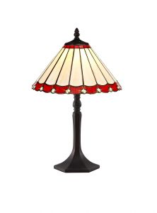 Sonoma Tiffany 30cm Shade, Red/Cream/Crystal c/w 48cm Octagonal Table Lamp, 1 x E27, Aged Antique Brass