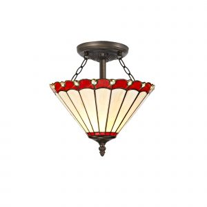 Sonoma Tiffany 30cm Shade, Red/Cream/Crystal c/w Semi Ceiling Kit, 2 x E27, Aged Antique Brass