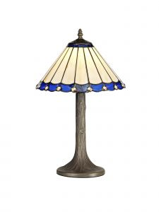 Sonoma Tiffany 30cm Shade, Blue/Cream/Crystal c/w 48cm Tree Like Table Lamp, 1 x E27, Aged Antique Brass