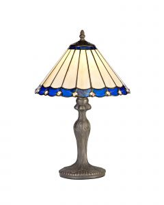 Sonoma Tiffany 30cm Shade, Blue/Cream/Crystal c/w 47.5cm Curved Table Lamp, 1 x E27, Aged Antique Brass