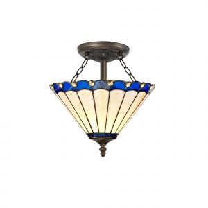 Sonoma Tiffany 30cm Shade, Blue/Cream/Crystal c/w Semi Ceiling Kit, 2 x E27, Aged Antique Brass