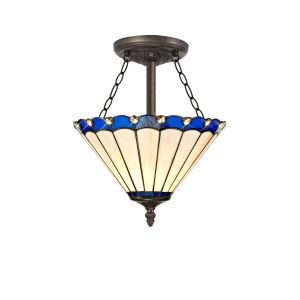 Sonoma Tiffany 30cm Shade, Blue/Cream/Crystal c/w Semi Ceiling Kit, 3 x E27, Aged Antique Brass