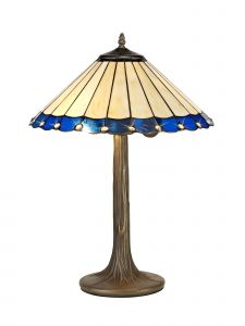 Sonoma Tiffany 40cm Shade, Blue/Cream/Crystal c/w 56cm Tree Like Table Lamp, 2 x E27, Aged Antique Brass