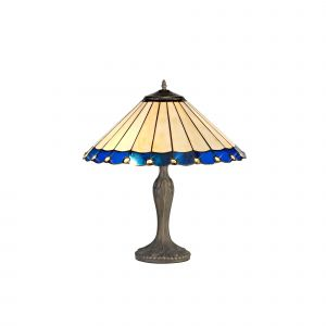 Sonoma Tiffany 40cm Shade, Blue/Cream/Crystal c/w 56cm Curved Table Lamp, 2 x E27, Aged Antique Brass