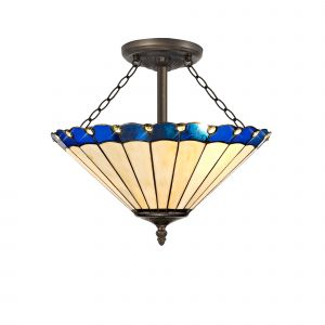 Sonoma Tiffany 40cm Shade, Blue/Cream/Crystal c/w Semi Ceiling Kit, 3 x E27, Aged Antique Brass