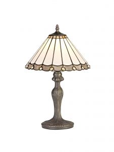 Sonoma Tiffany 30cm Shade, Grey/Cream/Crystal c/w 47.5cm Curved Table Lamp, 1 x E27, Aged Antique Brass