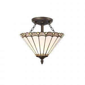 Sonoma Tiffany 30cm Shade, Grey/Cream/Crystal c/w Semi Ceiling Kit, 2 x E27, Aged Antique Brass