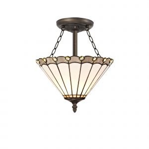 Sonoma Tiffany 30cm Shade, Grey/Cream/Crystal c/w Semi Ceiling Kit, 3 x E27, Aged Antique Brass