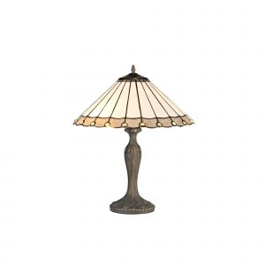 Sonoma Tiffany 40cm Shade, Grey/Cream/Crystal c/w 56cm Curved Table Lamp, 2 x E27, Aged Antique Brass