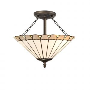 Sonoma Tiffany 40cm Shade, Grey/Cream/Crystal c/w Semi Ceiling Kit, 3 x E27, Aged Antique Brass