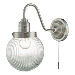 DAR TAM0738 Tamara Single Wall Light Satin Nickel/Clear Glass Finish Switched