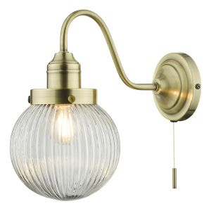 Tamara Single Wall Light Antique Brass Ribbed Glass