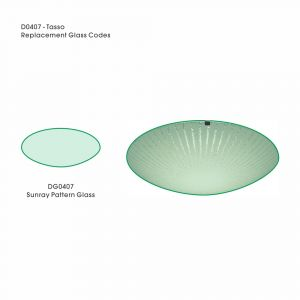 Deco DG0407 Tassa Replacement Small Sunray Pattern Glass For D0407