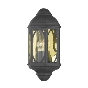 DAR TEN2122 Tenby Single Outdoor Wall Light Black/Clear Glass Finish
