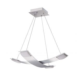 Mantra M8331 Thea Pendant 4 Light 28W LED 3000K, 2520lm, Satin Aluminium/Frosted Acrylic, 3yrs Warranty