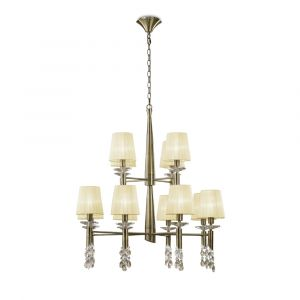 Mantra M3870 Tiffany Pendant 2 Tier 12+12 Light E14+G9, Antique Brass With Cream Shades & Clear Crystal
