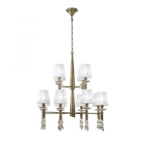 Mantra M3870 Tiffany Pendant 2 Tier 12+12 Light E14+G9, Antique Brass With White Shades & Clear Crystal