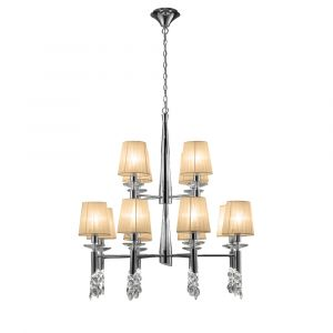 Mantra M3850 Tiffany Pendant 2 Tier 12+12 Light E14+G9, Polished Chrome With Soft Bronze Shades & Clear Crystal