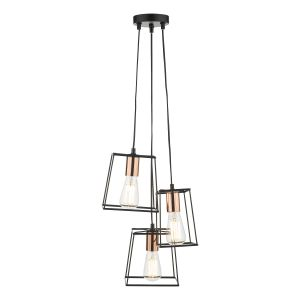 Tower 3 Light Cluster Pendant Black And Copper