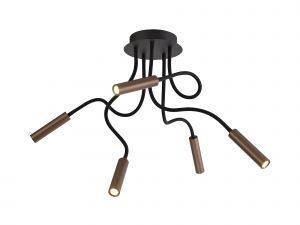 Nu Tudor Ceiling, 5 Light Adjustable Arms, 5 x 5W LED Dimmable, 3000K, 1550lm, Black/Satin Copper, 3yrs Warranty