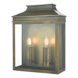 Dar VAP5045 Vapour Double Bathroom Wall Light Weathered Brass Finish