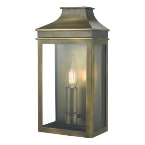 Dar VAP5245 Vapour Single Bathroom Wall Light Weathered Brass Finish