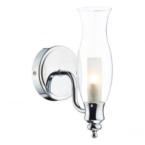 DAR VES0750 Vestry Single Bathroom Wall Light Polished Chrome/Clear Glass Finish Switched