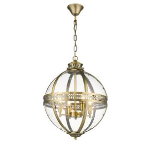 Cala 4 Light E14 Candle Adjustable Dimmable Antique Brass Pendant