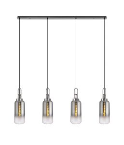 Vista Linear 4 Light Pendant E27 With 16cm Cylinder Glass, Smoked/Clear Polished Nickel/Matt Black