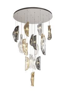Wardley Pendant 5m, 21 x G9, Polished Chrome/Clear & Amber & Smoked Glass Item Weight: 28.1kg