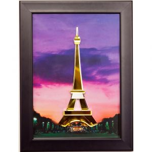 Diyas Home IL70501 (DH) World Eiffel Tower, Black Frame Amber, Crystal