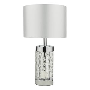 Yakinsale Small Table Lamp Polished Chrome and Glass With Shade