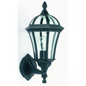Drayton Single Up Outdoor Wall Light Black/Clear Glass Finish